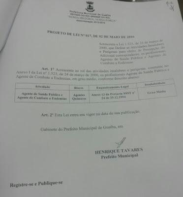 Prefeito assina Lei que garante o adicional de insalubridade para os ACS e ACE 1