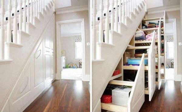 Tận dụng gầm cầu thang thành kho chứa đồ