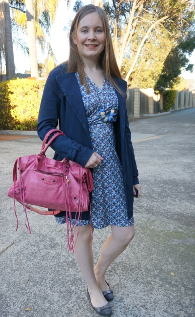 faux wrap dress for petites with pink balenciaga city bag navy mac jacket | away from Blue