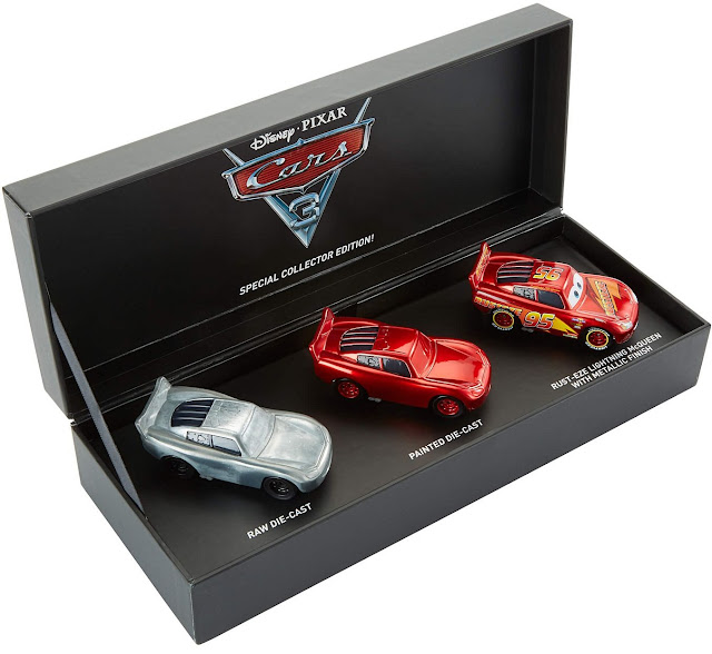 2017 SDCC raw die cast, painted die cast, rust eze Lightning McQueen box set