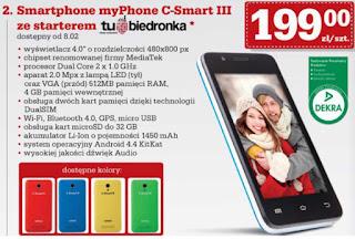 Smartphone myPhone C-Smart III z Biedronki ulotka