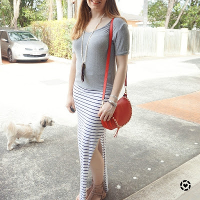 awayfromblue instagram grey tee stripe maxi skirt red pop of colour Rebecca Minkoff cherry saddle bag
