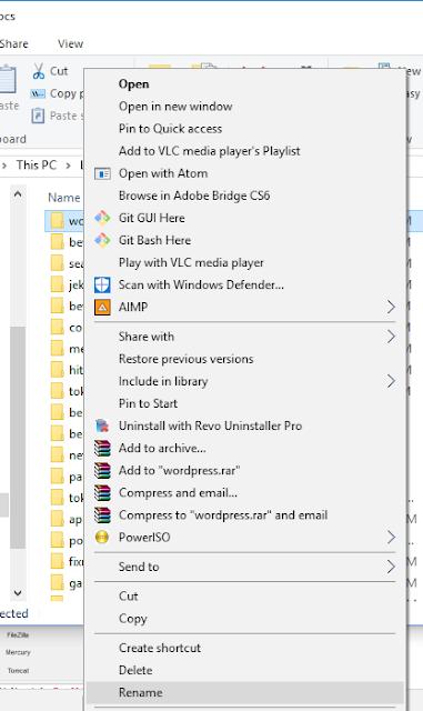 Extract Here File Wordpress lalu tempatkan di htdocs