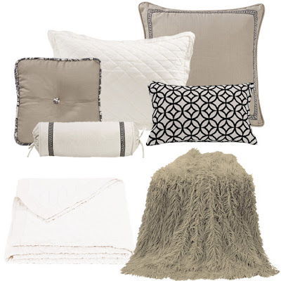 Augusta taupe linen Euro sham and decorative throw pillows, taupe mongolian faux fur throw, vintage white linen quilt and pillow sham