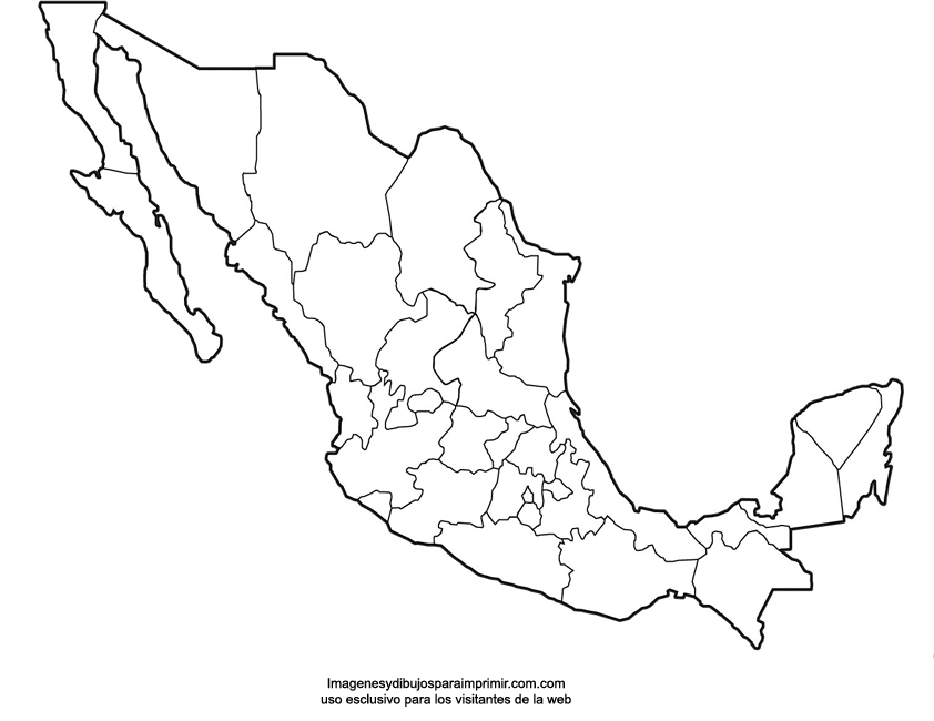 Mapas de México para imprimir | Imagenes y dibujos para imprimir