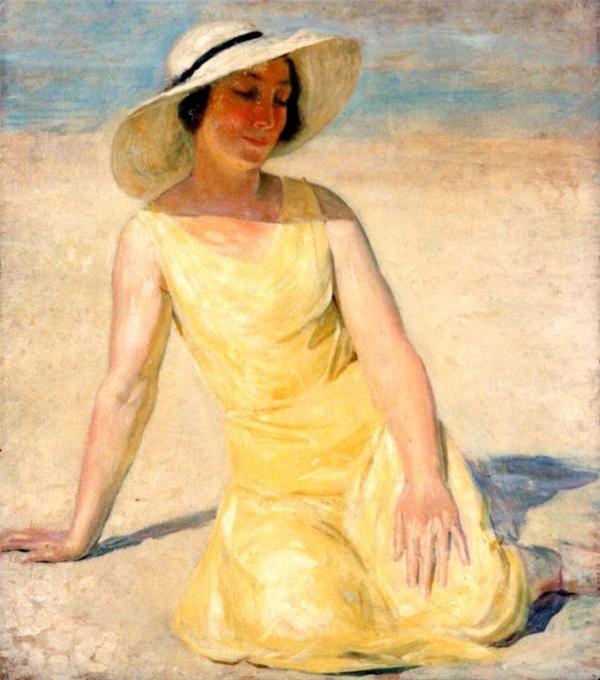 Emile Delobre Желтое платье и белая шляпа