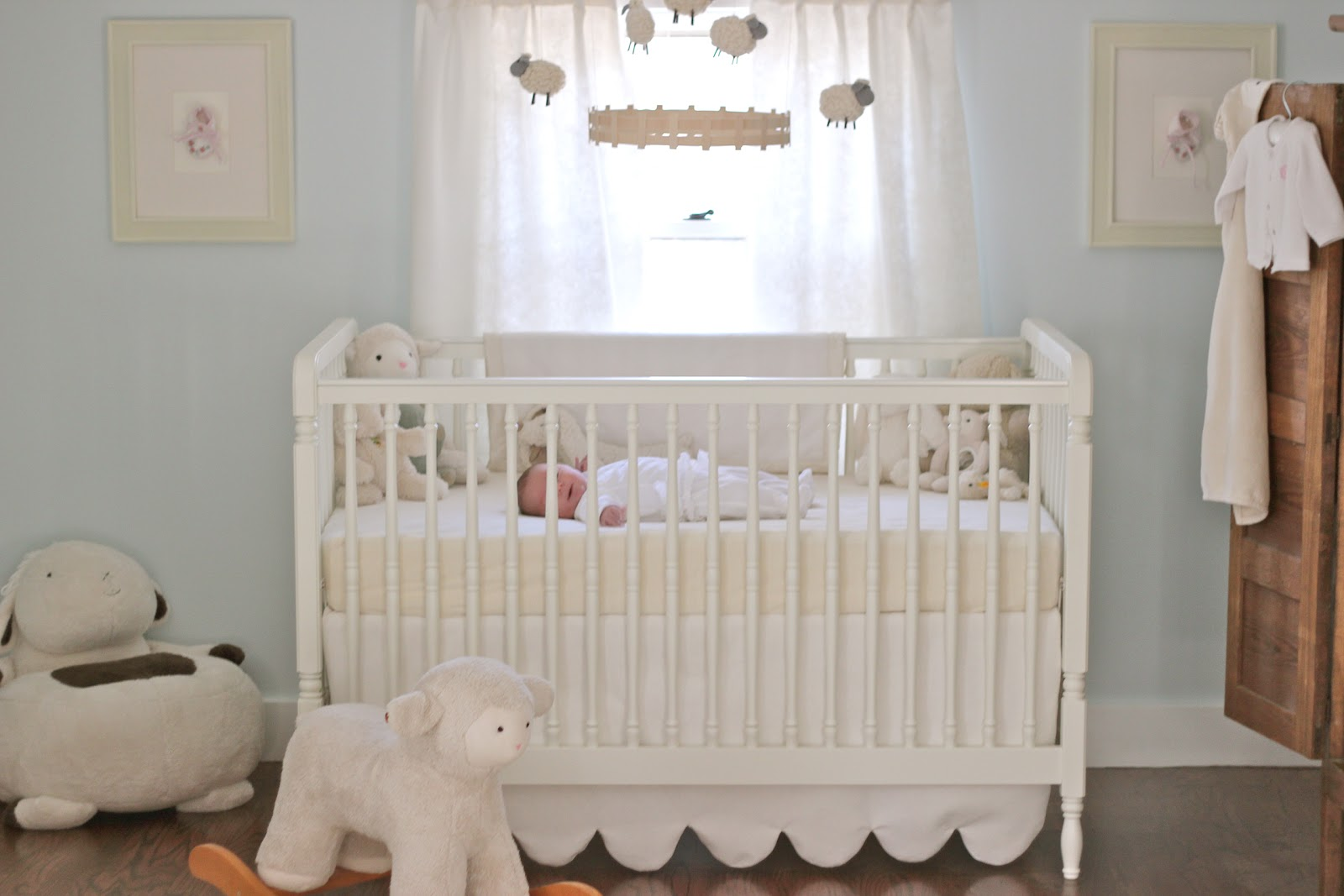 Emma S Nursery Soft Cuddly Pale Blue Cream Lambs Sheeps