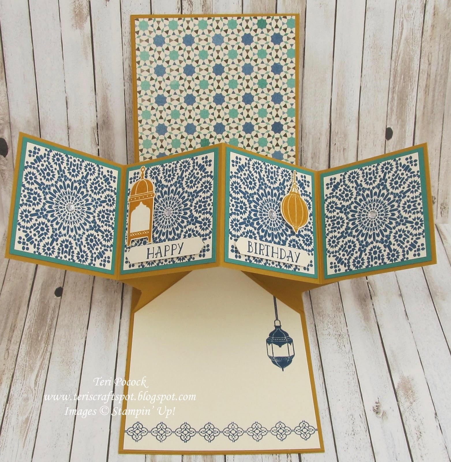 stampin 39 up uk demonstrator teri pocock moroccan nights pop up panel card. Black Bedroom Furniture Sets. Home Design Ideas