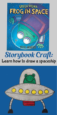 art activity based on story book Green Wilma Frog in space