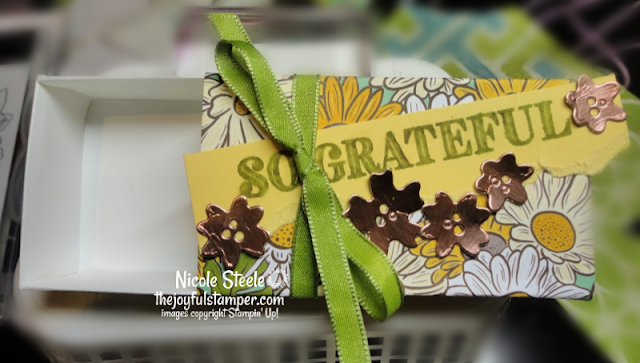 Matchbox made with Ornate Thanks, Ornate Garden DSP, and Ornate Garden Ribbon Combo Pack | Project #7 on the Ornate Garden Mega Tutorial Bundle | designed by Nicole Steele The Joyful Stamper
