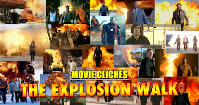 Action movie cliche Explosion Walk Towards Camera
