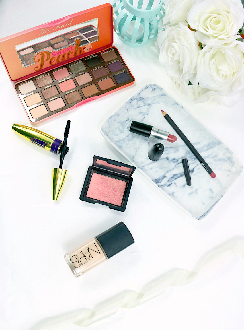 My Birthday Makeup including NARS Sheer Glow Foundation, NARS Orgasm Blusher, Too Faced Sweet Peach Palette, Maybelline Colossal Big Shot Mascara, MAC Mehr Lipstick and MAC Soar Lip Liner.