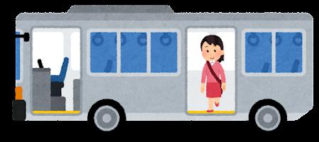 バスを降りる人のイラスト(女性・後ろのドア)
