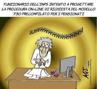 inps, modello 730, 730 precompilato, portale inps, procedure on-line, pensioni, tasse, anziani, vignetta, satira