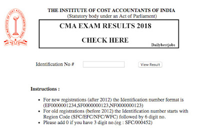 CMA Result 2018 December, CMA Exam Results 2018, examicmai.org