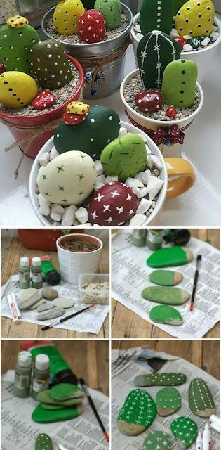 cómo hacer macetas con cactus a partir de piedras pintadas