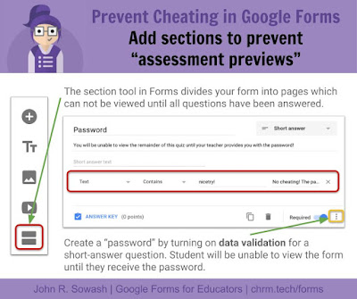 Prevent cheating in Google Forms: add sections to prevent assessment previews