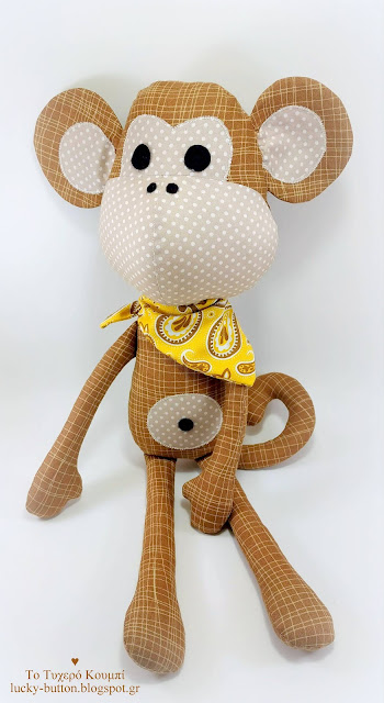 """Safari Monkey"" πάνινο κουκλάκι μαϊμουδάκι με φουλάρι"