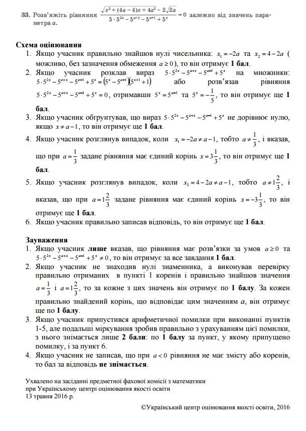 Схеми оцінювання відкритих завдань тесту ЗНО з математики 3