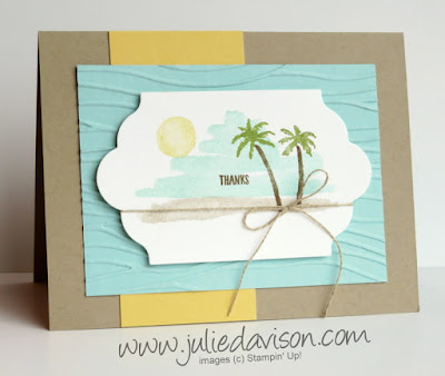 Stampin' Up! Waterfront Beach Thank You Card ~ Stamp of the Month Club Card Kit ~ 2018 Occasions Catalog ~ www.juliedavison.com