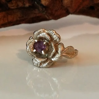 Rose Engagement Ring, Sapphire Engagement Ring, Twig Engagement Ring, Rose Wedding Ring, Vintage Rose Engagement Ring, Diamond Rose Ring