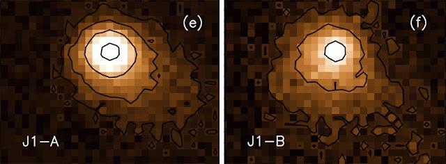 Imagens feitas das duas partes do asteroide P/2016 J1 em 15 de maio de 2016 mostra a região central -rocha- e a nevoa externa, que corresponde a sua cauda