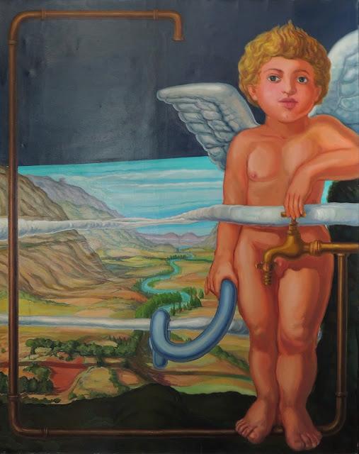 José Canes Solé pintura naíf surrealista angel paisaje