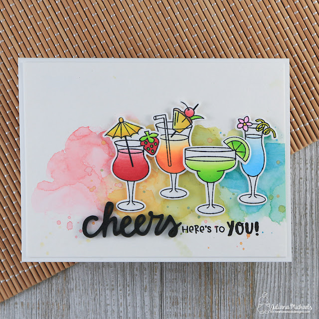 Cheers To You Card by Juliana Michaels featuring Cocktail Mixers Stamp Set by Newton's Nook Designs