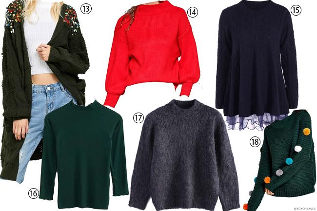 日本人ファッションブロガー,MizuhoK,ウィッシュリスト、ほしい物リスト、 for Sammydress,ニットセーター,ストライプ、マルチカラー、刺繍セーター、カラーブロック、ライダースジャケット、ボアジャケット,レモン、キツネ、ビジューロングカーディガン