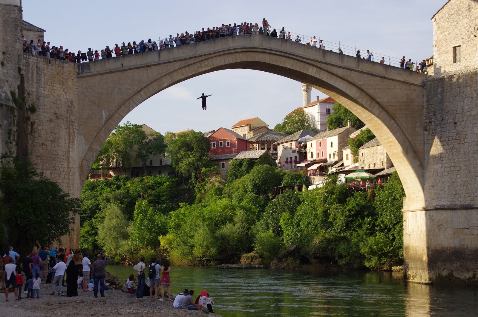 Jumping from Stari Most into Neretva river