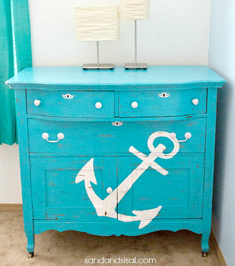 Blue Painted Cabinet Nautical