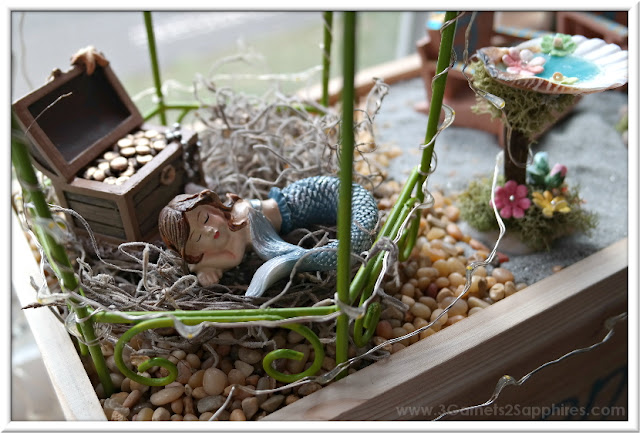 Window Box Beach Fairy Garden Inspiration  |  3 Garnets & 2 Sapphires