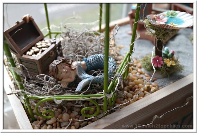 Window Box Beach Fairy Garden Inspiration  |  3 Garnets & 2 Sapphires