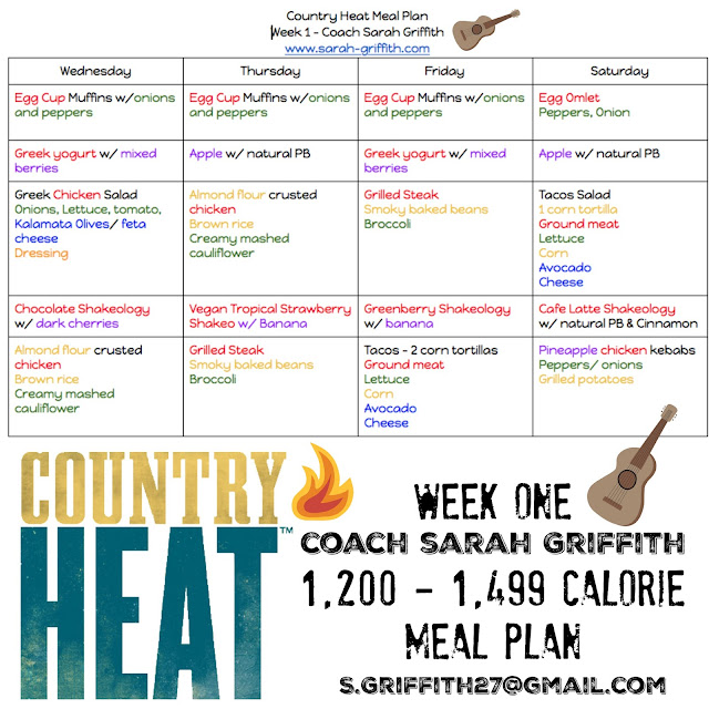 Country heat, country heat meal plan, country heat meal plan guide, country heat calorie brackets, meal plans, sarah griffith