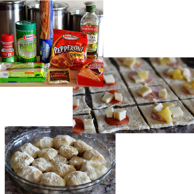 Stuffed Pizza rolls are soft rolls filled with Pepperoni and Mozzarella cheese and topped with garlic and Italian seasonings. Life-in-the-Lofthouse.com