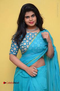 Telugu Actress Alekhya Stills in Green Saree at Swachh Hyderabad Cricket Press Meet  0041.JPG