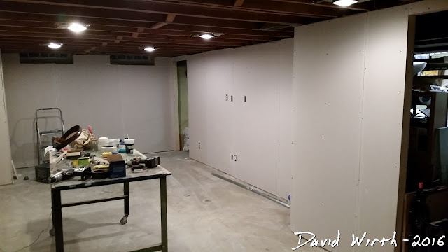 basement remodel, drywall, mud, tape, sand