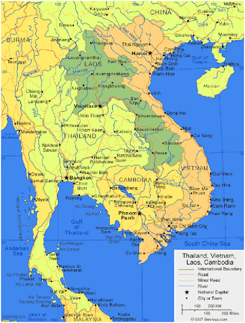 Gambar Peta Wilayah Negara Kamboja HD