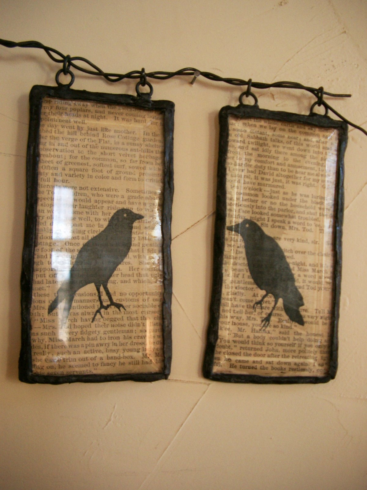 Spooky Halloween Book Page Crafts - Framed Crow Art