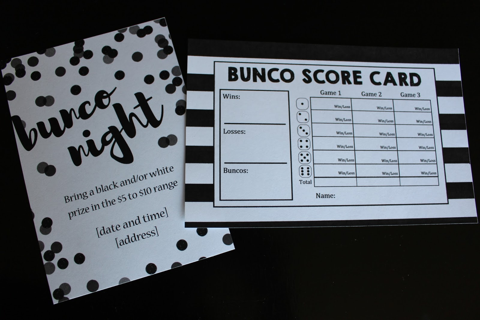 Utah County Mom Black and White Bunco theme with FREE