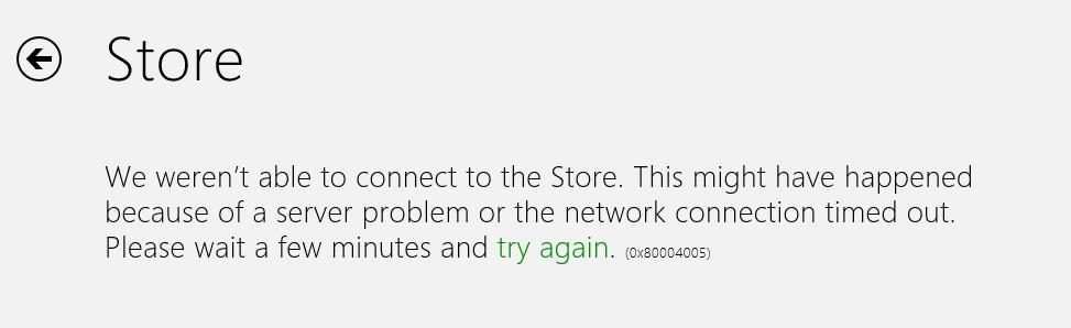 Lane's Tech Blog: 0x80004005 error when launching Windows Store in