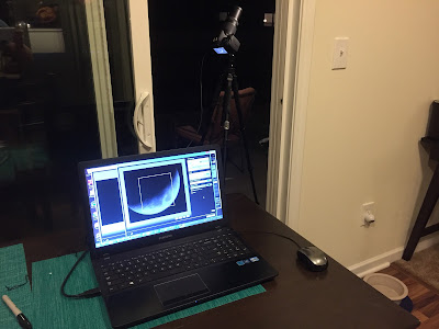 laptop connected to camera with usb moon photo