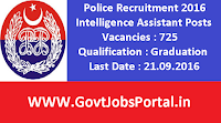 Police Recruitment 2016 for 725 Intelligence Assistants