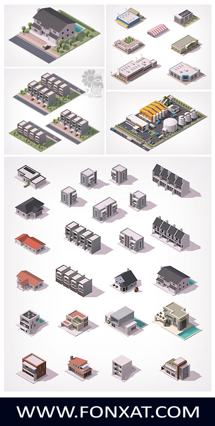 Download Images Vector isometric buildings