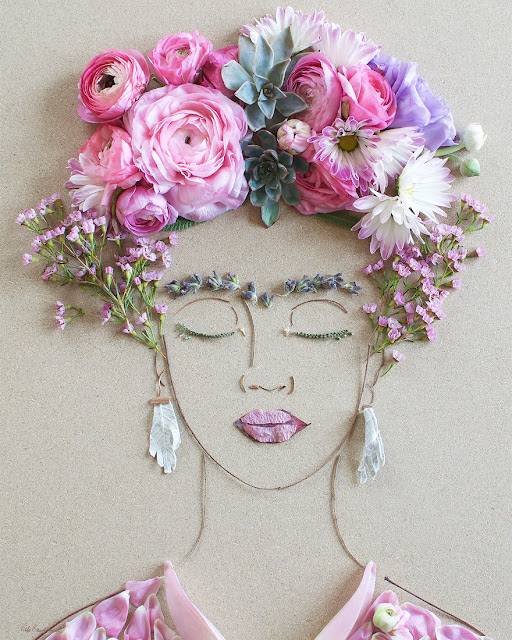 intricate portraits made from twigs and flowers