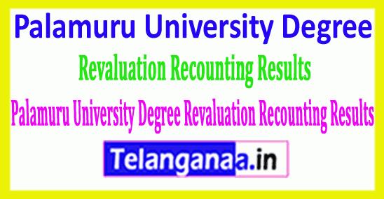 Palamuru University Degree 2018 Revaluation Recounting Results