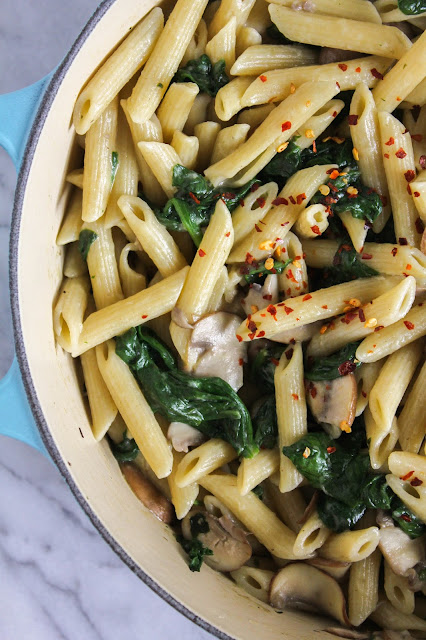 Lemon Penne Pasta with Mushrooms and Spinach | The Chef Next Door