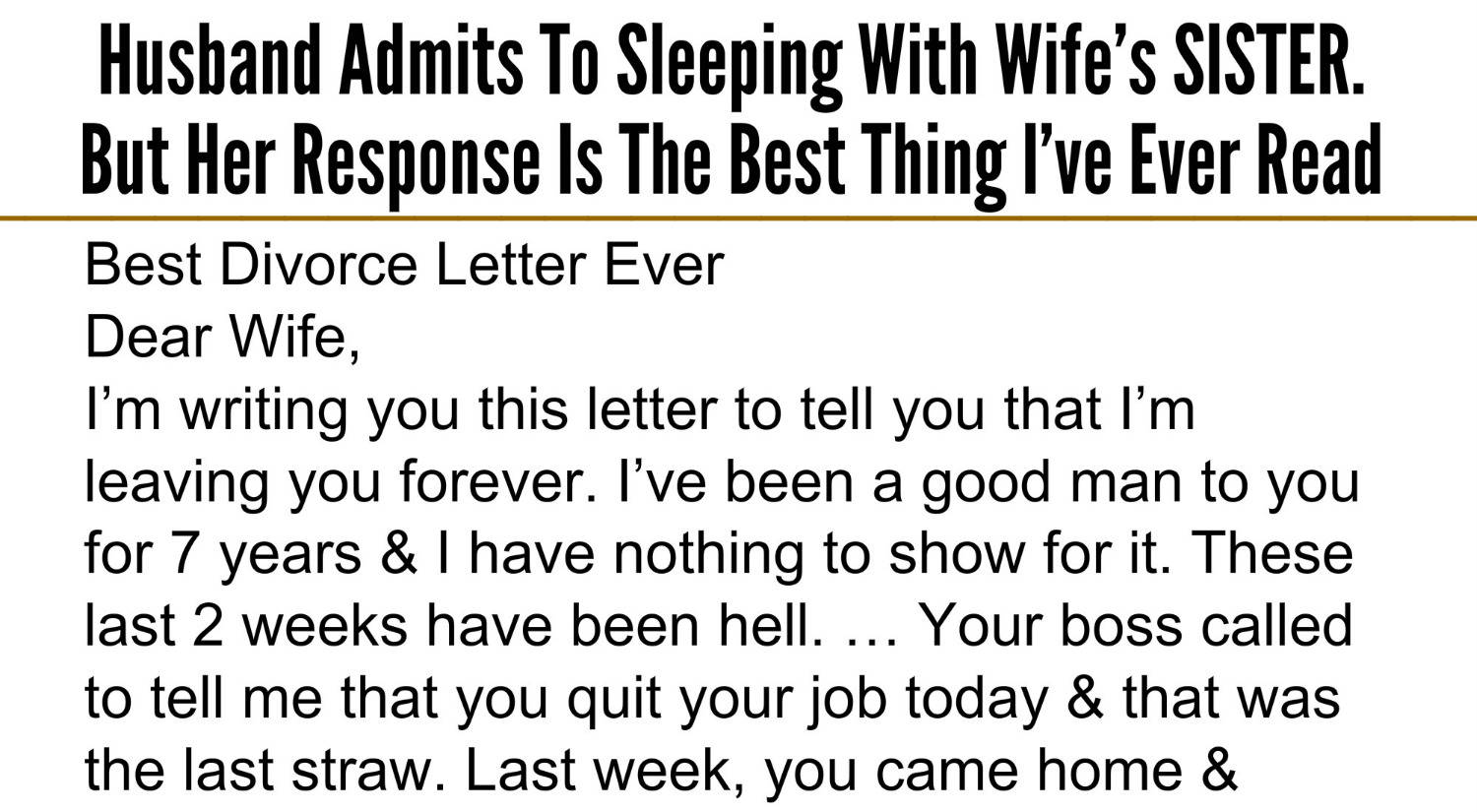 best divorce letter ever beautiful quotes husband admits to sleeping with s 20587 | .3
