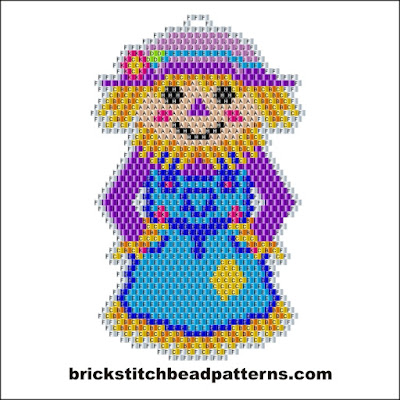 Free intermediate brick stitch earring pattern labeled color chart.