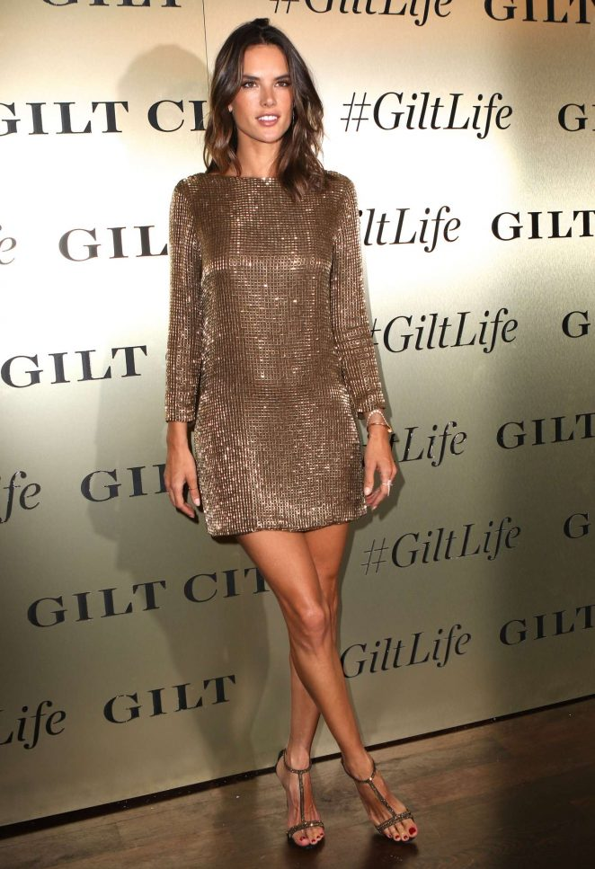 Alessandra Ambrosio shows off bronzed legs at the GiltLife Launch Party in NYC